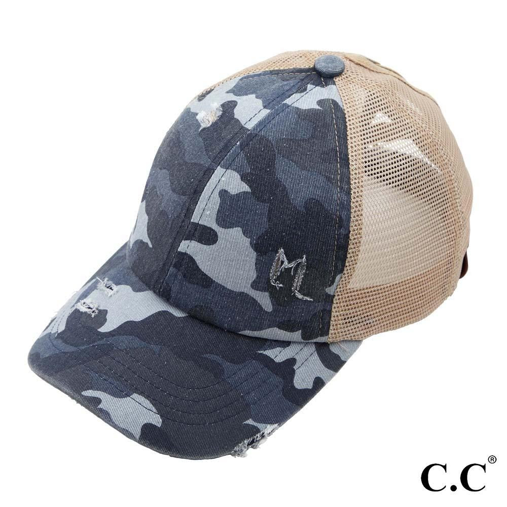 Criss Cross Messy Bun Hat-Blue Camo