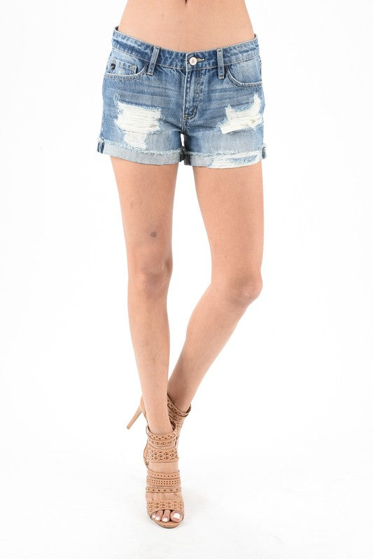 Molly Mid Rise Distressed Shorts