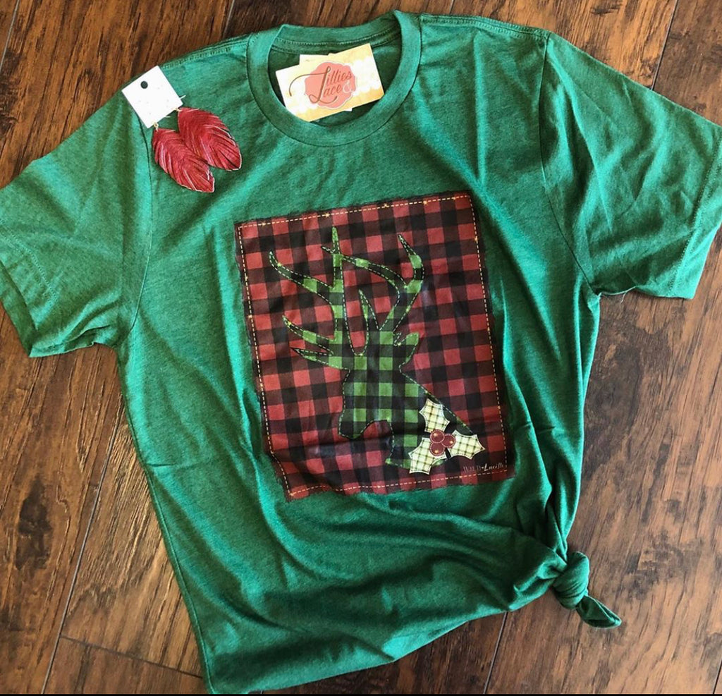 Buffalo Plaid Reindeer Tee