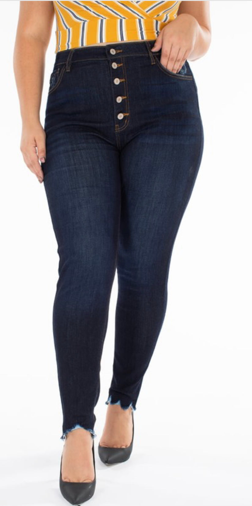 Curvy Candy Button Fly Jean