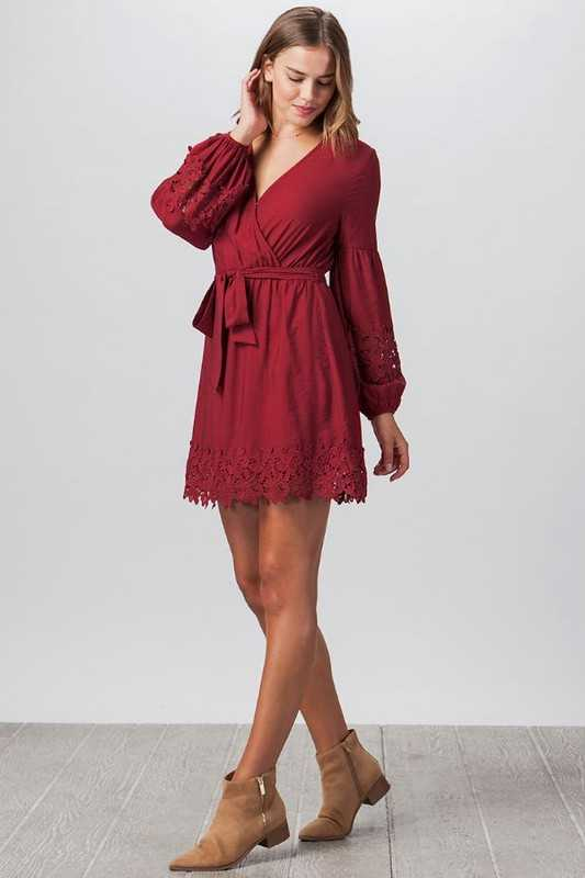 Lace Lantern Sleeve Dress