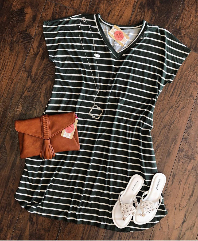 Curvy Olive Ivory Stripe Dress