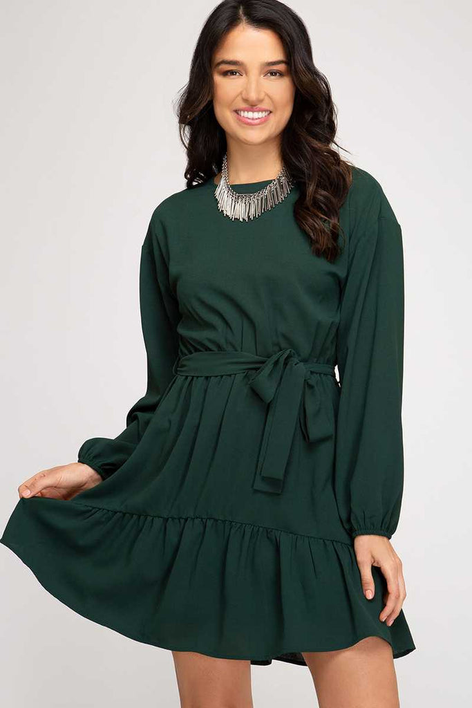 Forest Green LS Flounce Dress