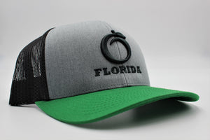 Heather Grey & Green Snapback hat