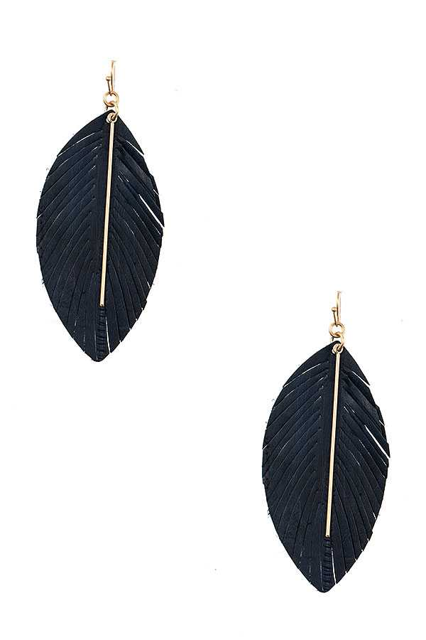 Navy Feather Earring