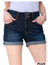 Load image into Gallery viewer, Curvy Cuffed Denim Shorts