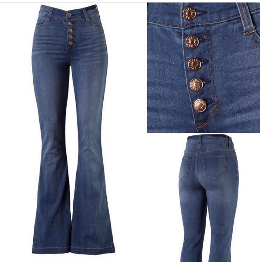 Button High Rise Flare Jean