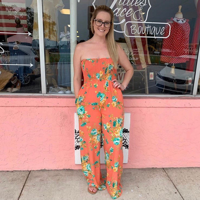 Polly Coral Multi Tube Jumpsuit