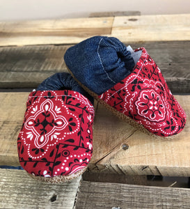 Red Paisley Low Tops