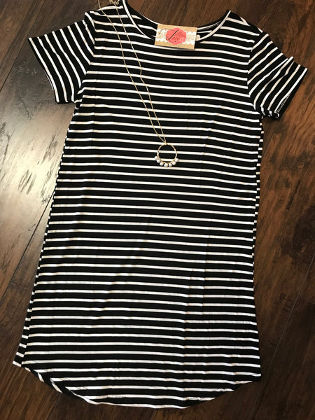 Black Staci Stripe T-Shirt Dress