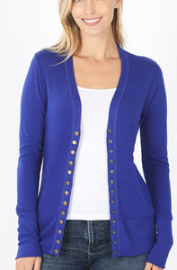 Snap Button Cardigan-Royal