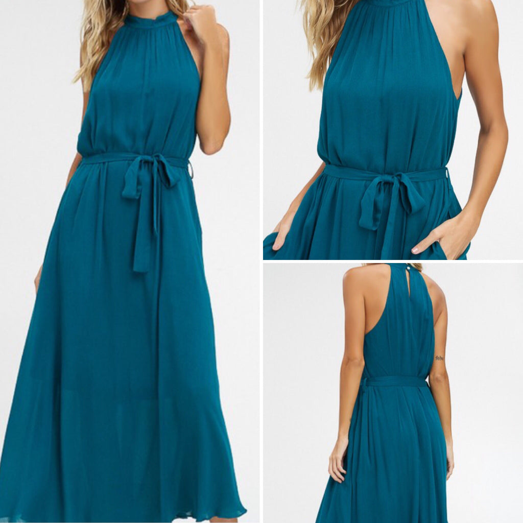 Emerald Tie Waist Maxi Dress