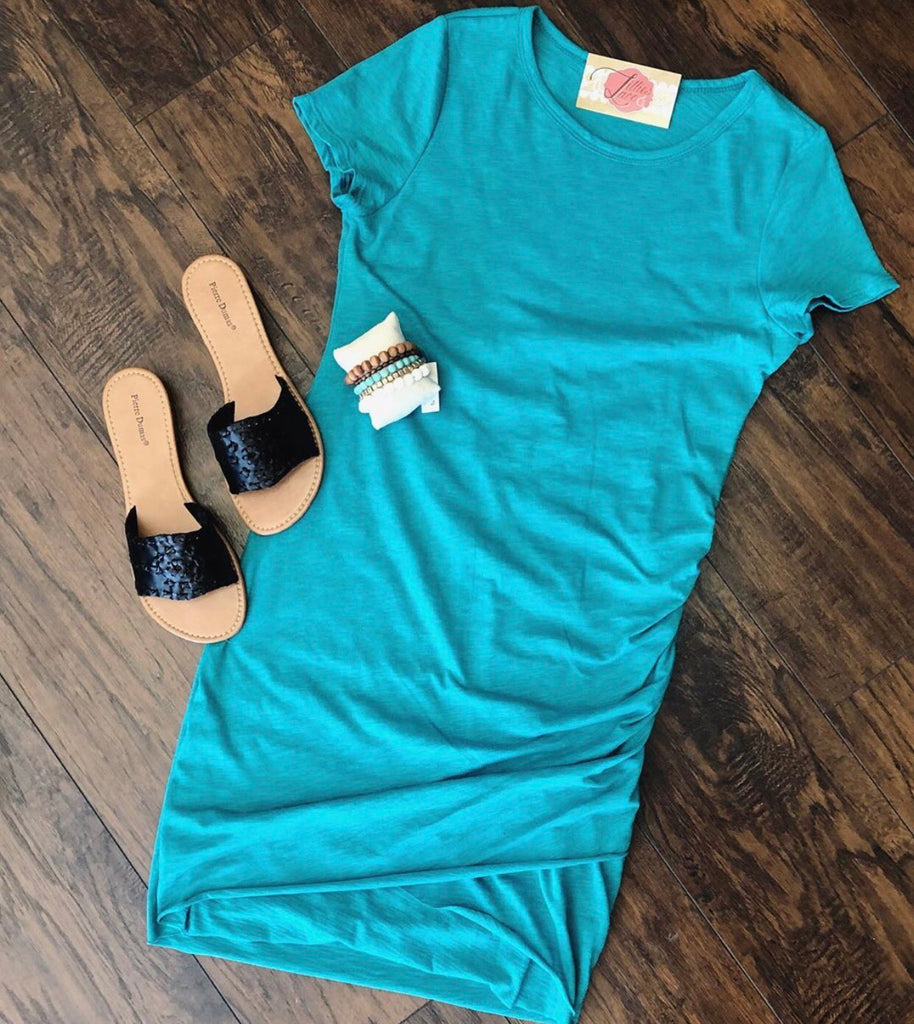 Teal Green Rouched T-Shirt Dress