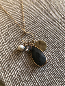 Precious Stone Necklace-Charcoal