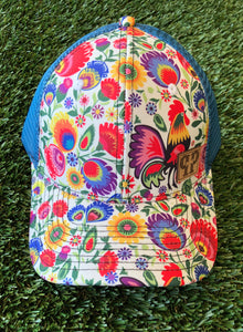 White Floral Cap With Blue