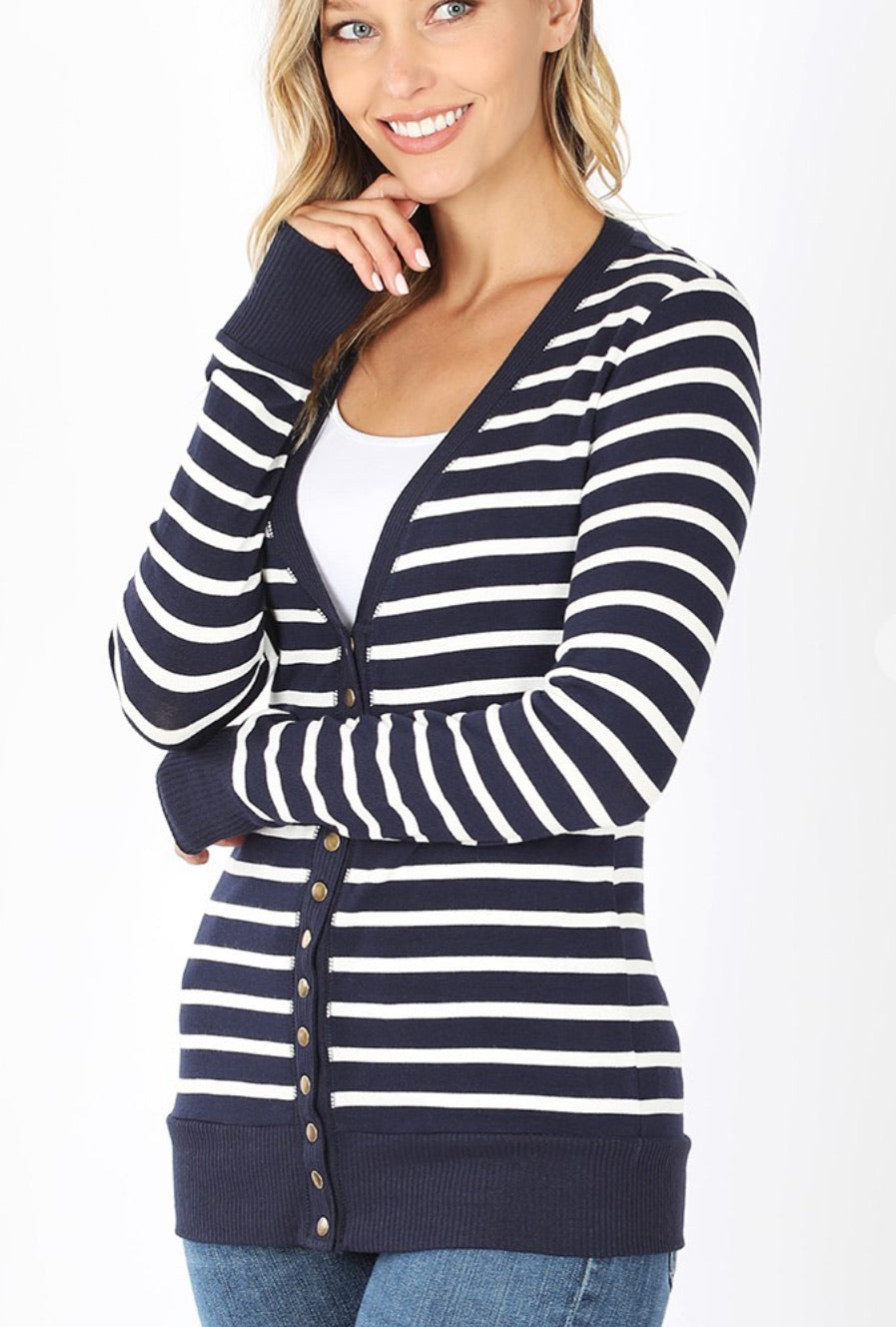 Striped Snap Cardigan-Navy
