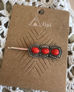 Red Stone Hair Pin