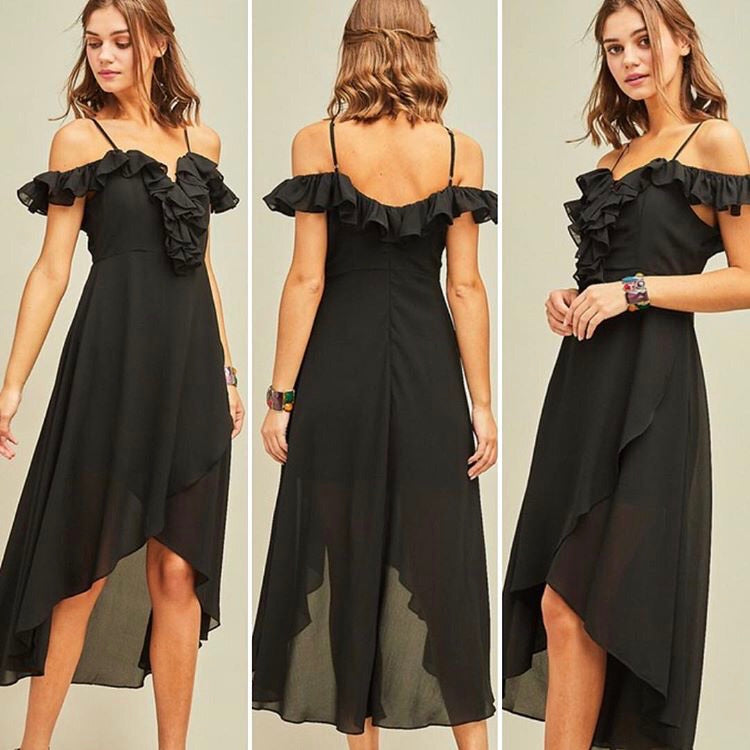 Ruffle My Feathers Black Dress