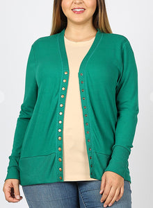 Curvy Snap Button Cardigan-Hunter