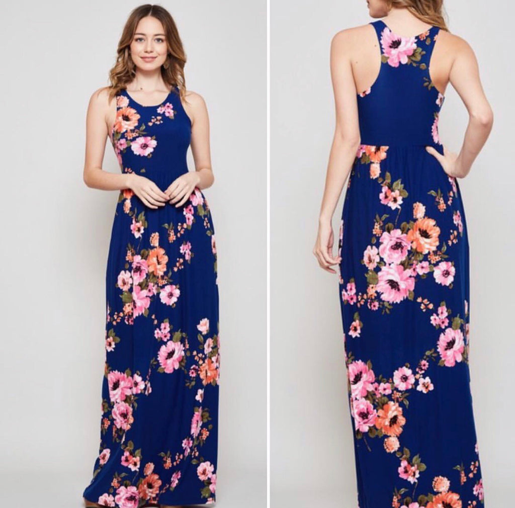Blue Floral Brushed Maxi