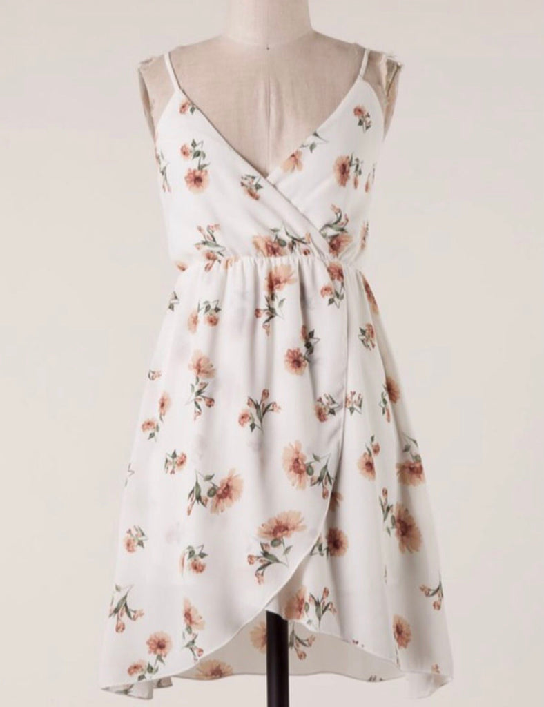 Ivory Floral Crossover Dress