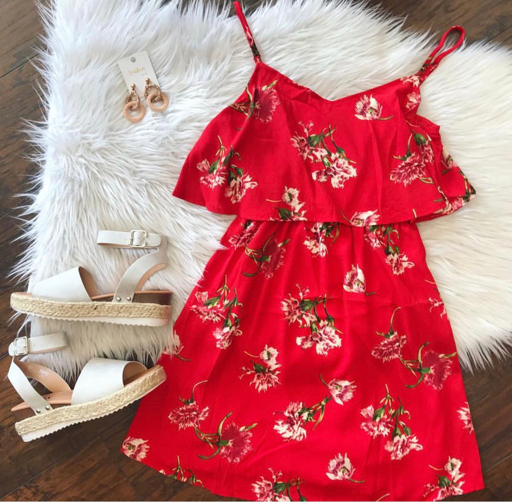 Rosie Red Floral Layer Dress