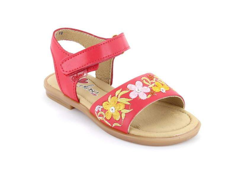5aeca30c61502 Coloso Spanish Coral Red Embroidered Leather Velcro Sandal