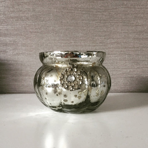 Antique Glass Tealight Holder with Hanging Charm