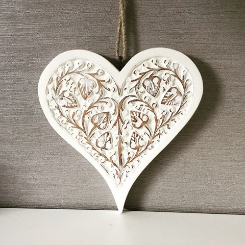 Large White Carved Hanging Heart
