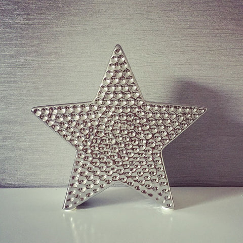 Silver Hammered 3D Star
