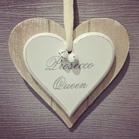 Prosecco Queen Double Heart Plaque