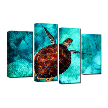Sea Turtle 4 Pcs Canvas Set