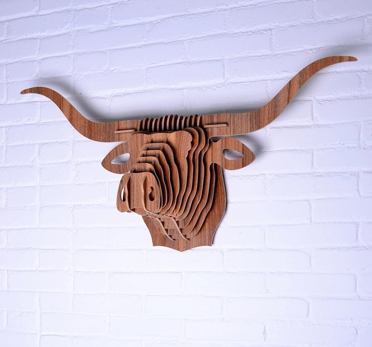Wooden 3D Wall Hanging - Relaxed Bull Style
