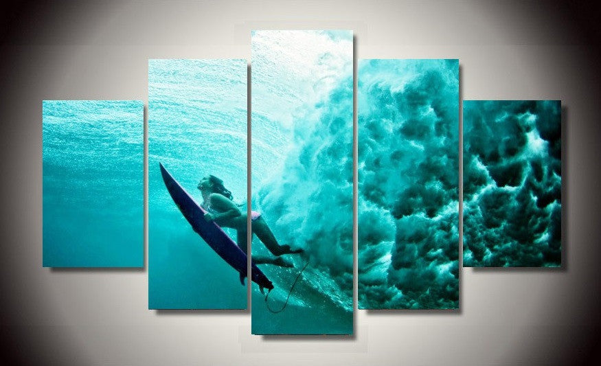 Surfing Underwater 5 Pcs Wall Art Canvas Print Picture