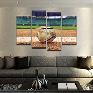 Let's Play Ball Canvas 4 Pcs Wall Art