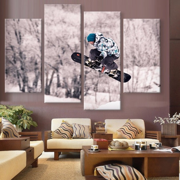 High In The Sky Snowboard Juming Canvas 4 Pcs Wall Art