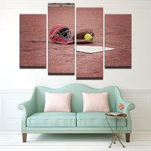 Softball Canvas 4 Pcs Wall Art