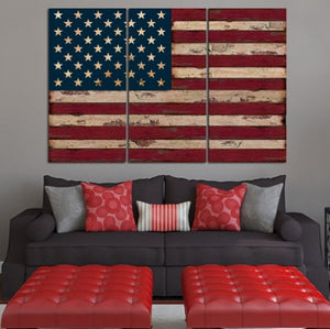 U.S.A Flag Canvas 3 Pcs Wall Art