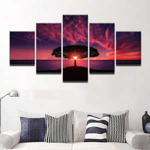 Sunset Behind The Tree 5 Pcs Canvas Set