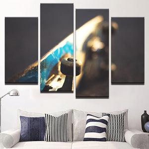 My Blue Skateboard Canvas 4 Pcs Wall Art