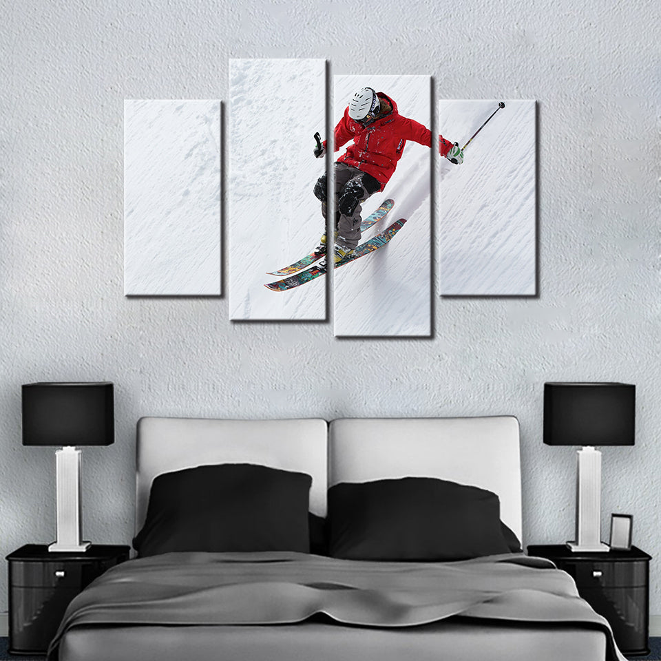 Let's Go Skiing 4 Pcs Canvas Set