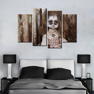Scary Doll 4 Pcs Canvas Set
