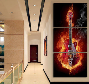 Burning Guitar Canvas 3 Pcs Wall Art