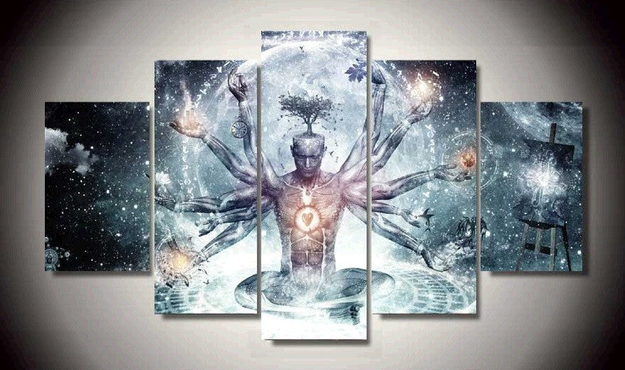 Speritual Healing 5 Pcs Meditation Wall Art Painted Canvas