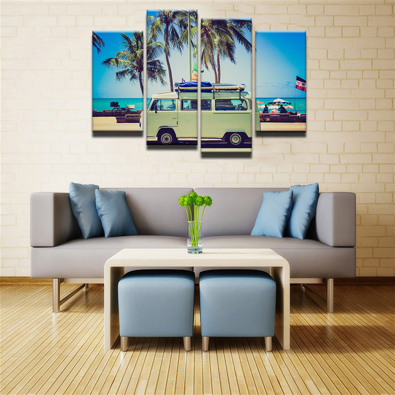 Surfer's Van 4 Pcs Canvas Wall Art