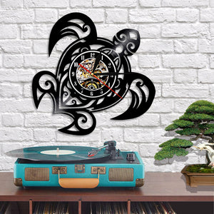 Vinyl Record Wall Clock - Turtle Style