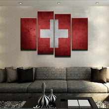 Switzerland Flag 4 Pcs Canvas Wall Art