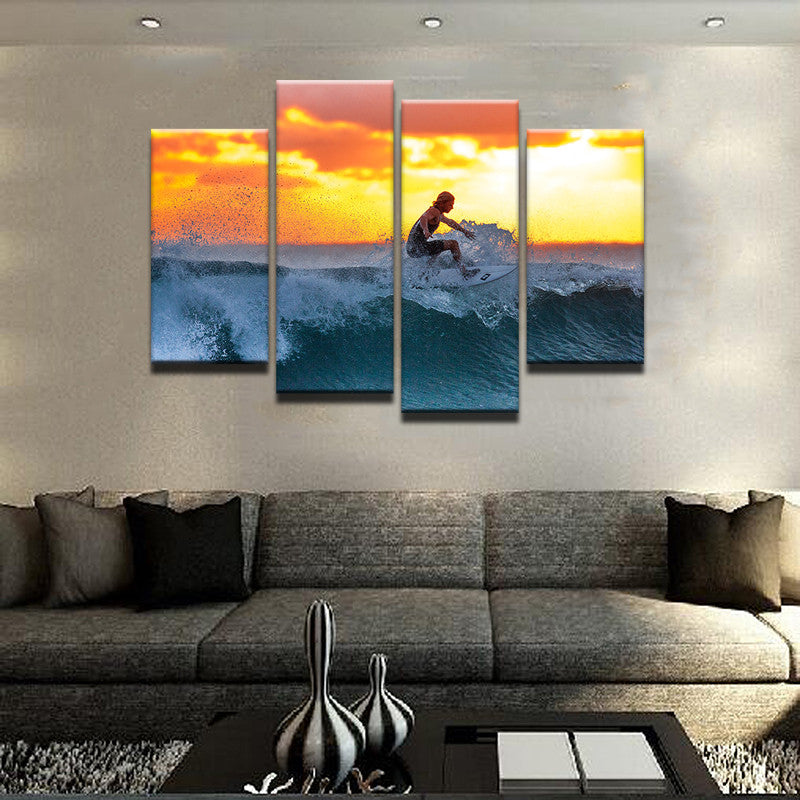 Life Is All About Surfing Canvas 4 Pcs Wall Art
