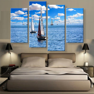 Sailboats Canvas 4 Pcs Wall Art