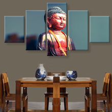 Divine Buddha 5 Pcs Wall Art Painted Canvas